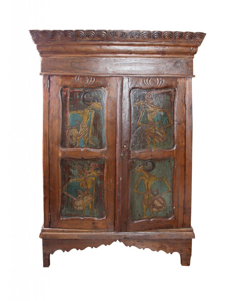 Indonesian cabinet with Java figures