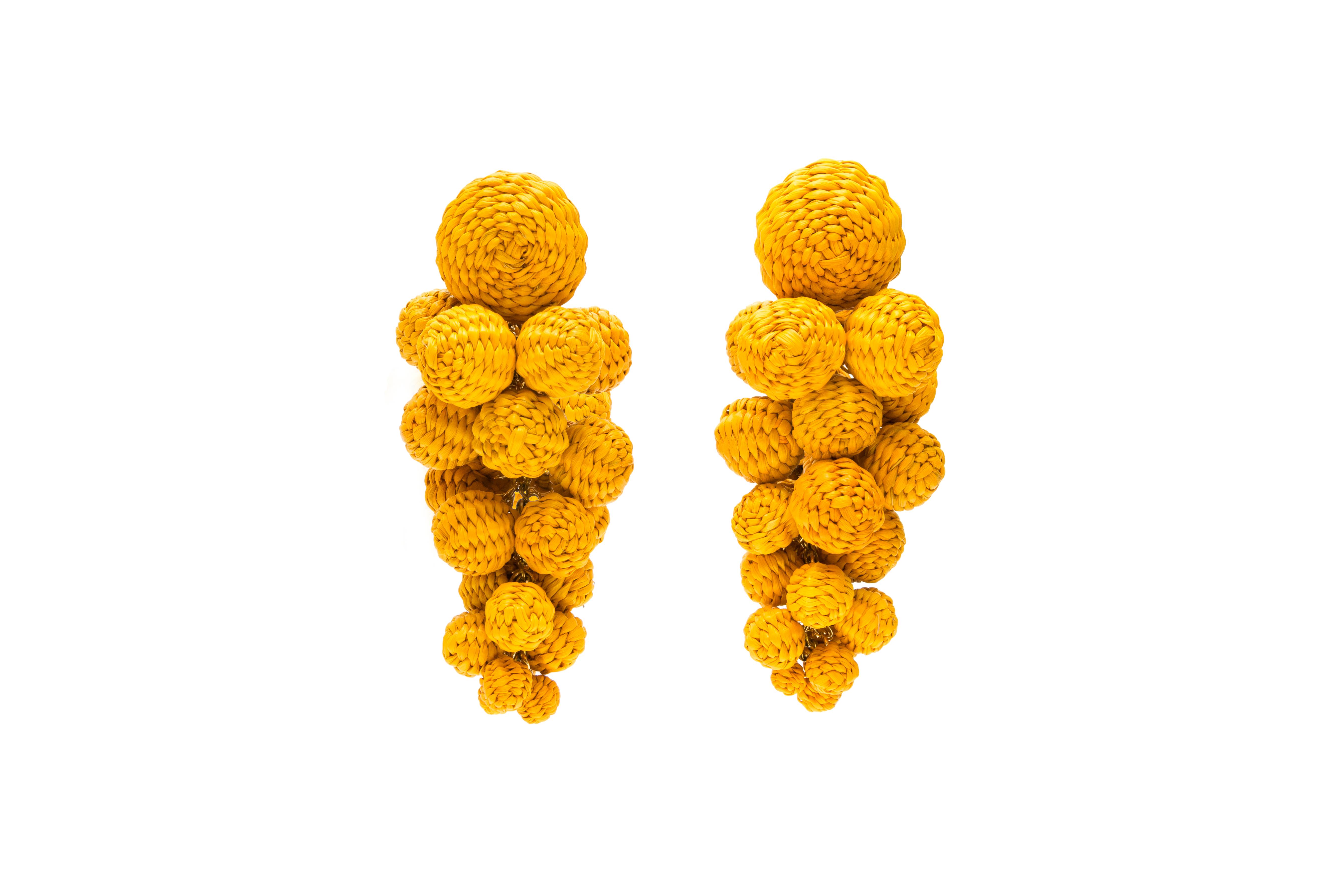 Iraca Palm Drop Earrings Yellow