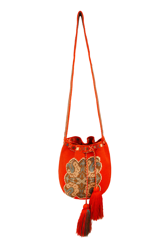 Mochila Wayuu Diseño Mandala Naranja