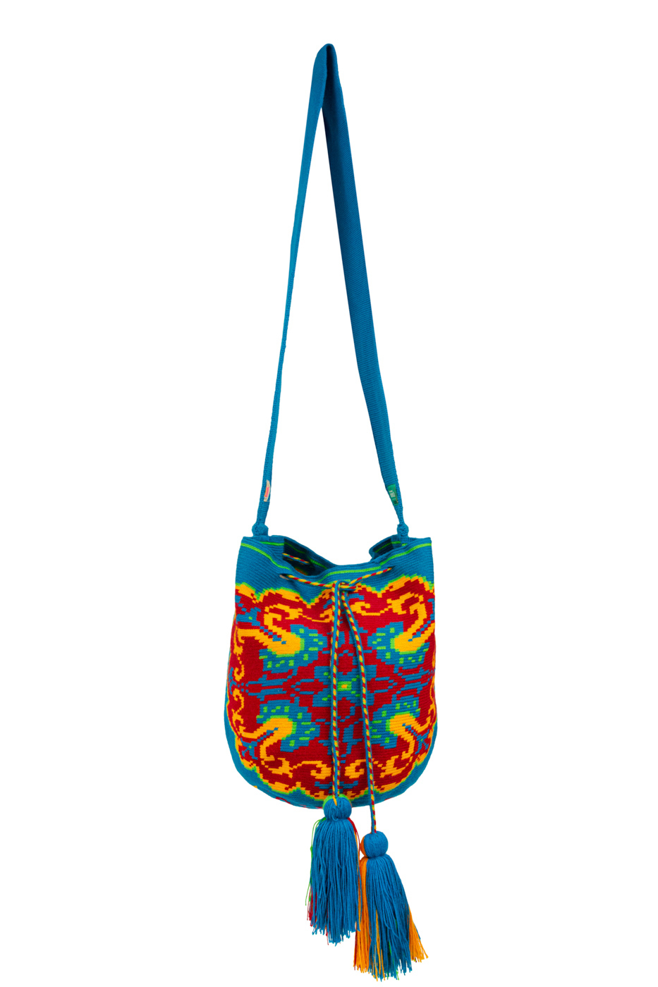 Mochila Wayuu Diseño Mandala Azul Jean