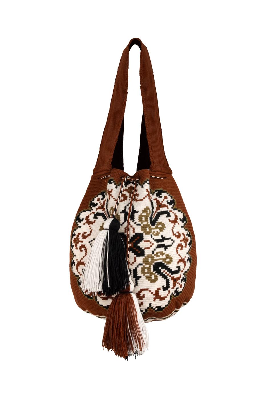 Mochila Wayuu Diseño Mandala Marrón