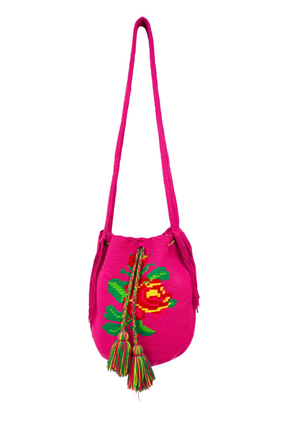 Mochila Wayuu Diseño Rosas Fucsia