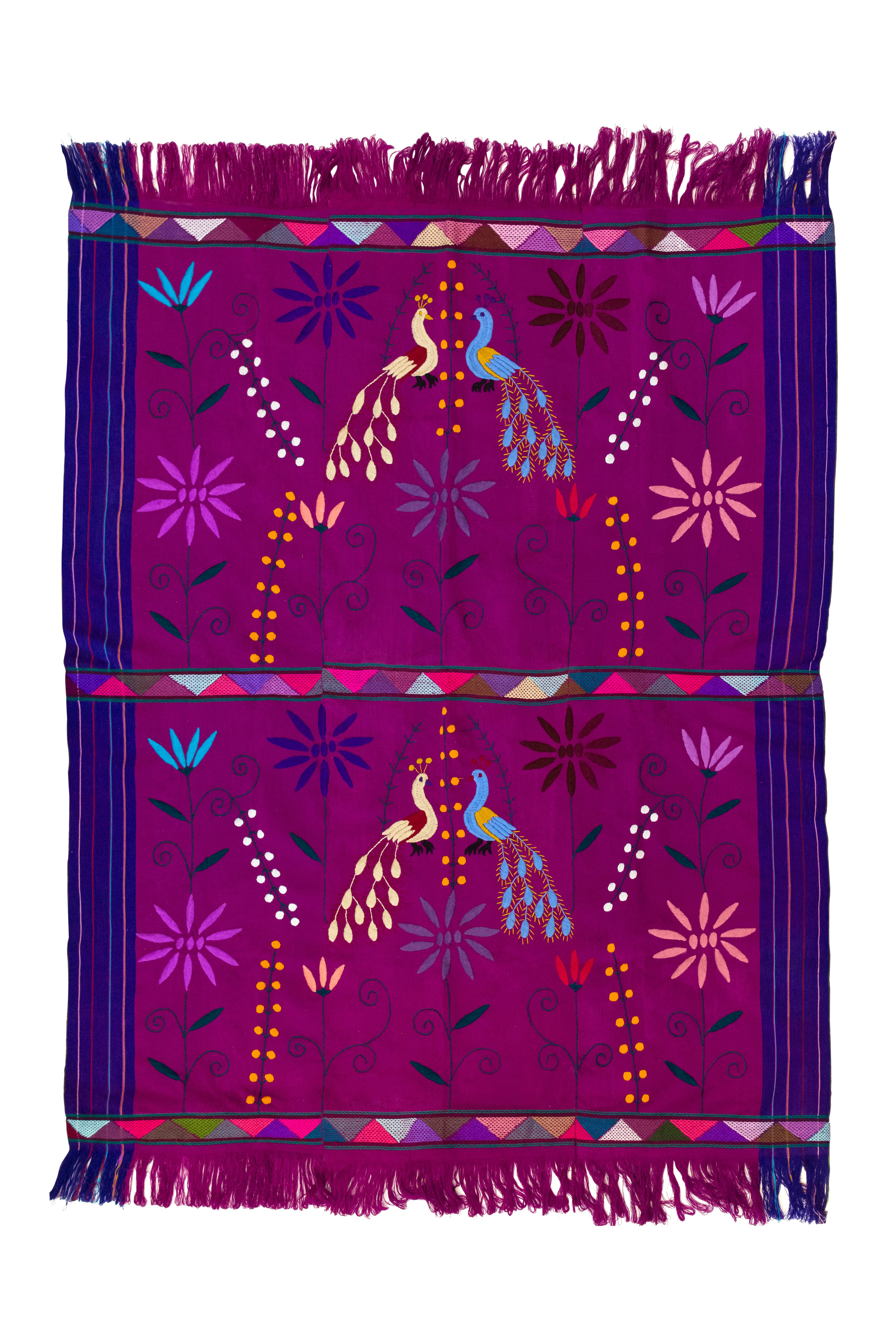 Mexican fabric in purple waist loom