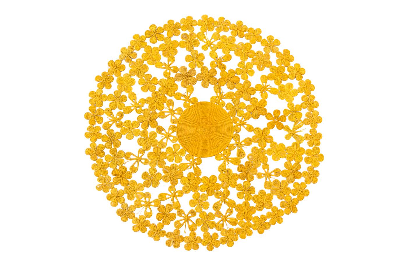 Tapete Flores Iraca Amarillo