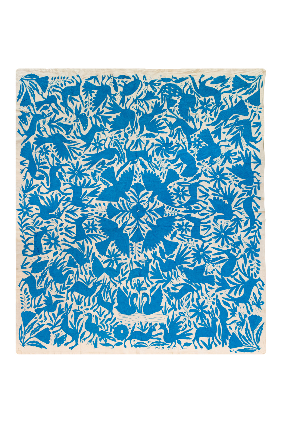 Mexican decorative fabric Otomi blue birds