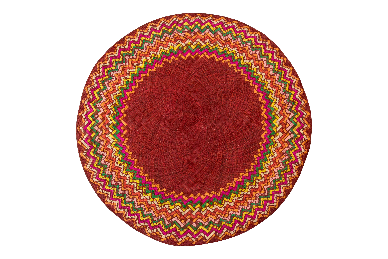 Round mat natural fibre red
