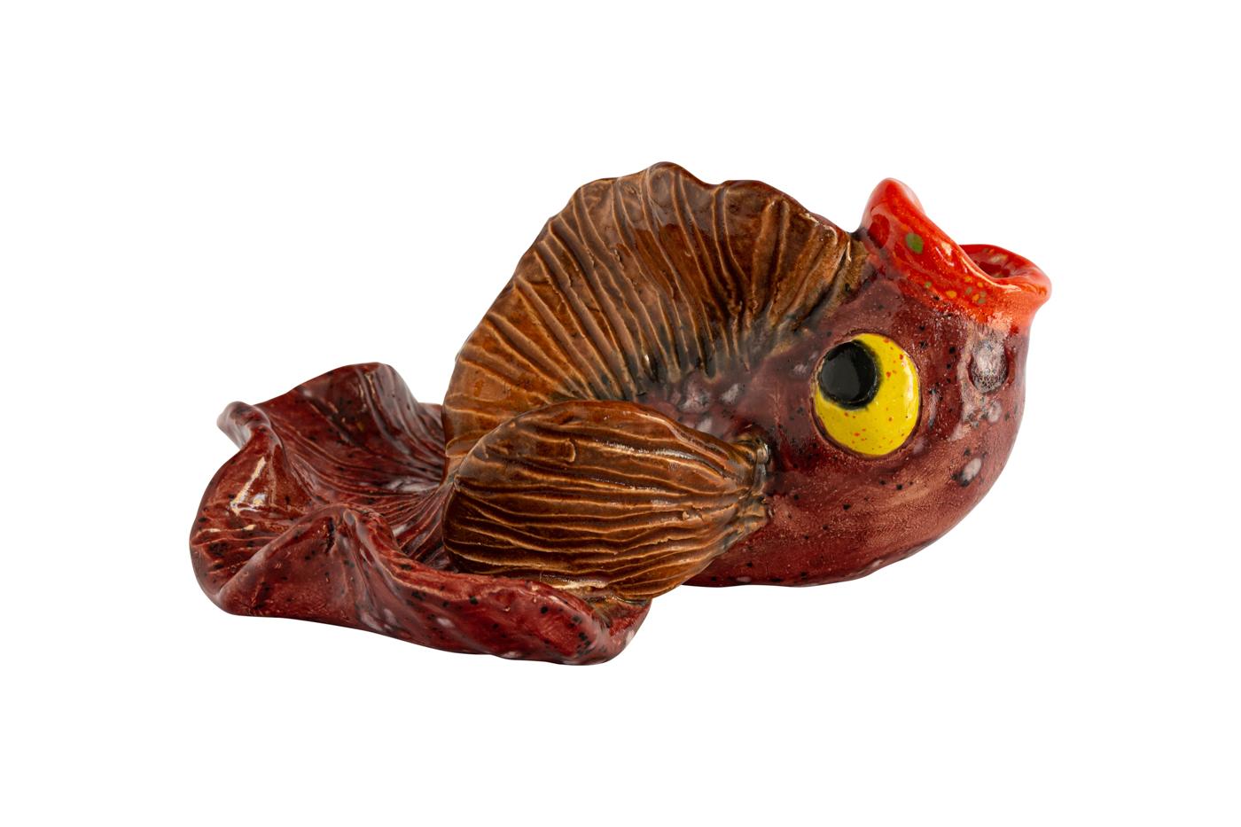 Cenicero Ceramica, Pescado Rojo Oscuro