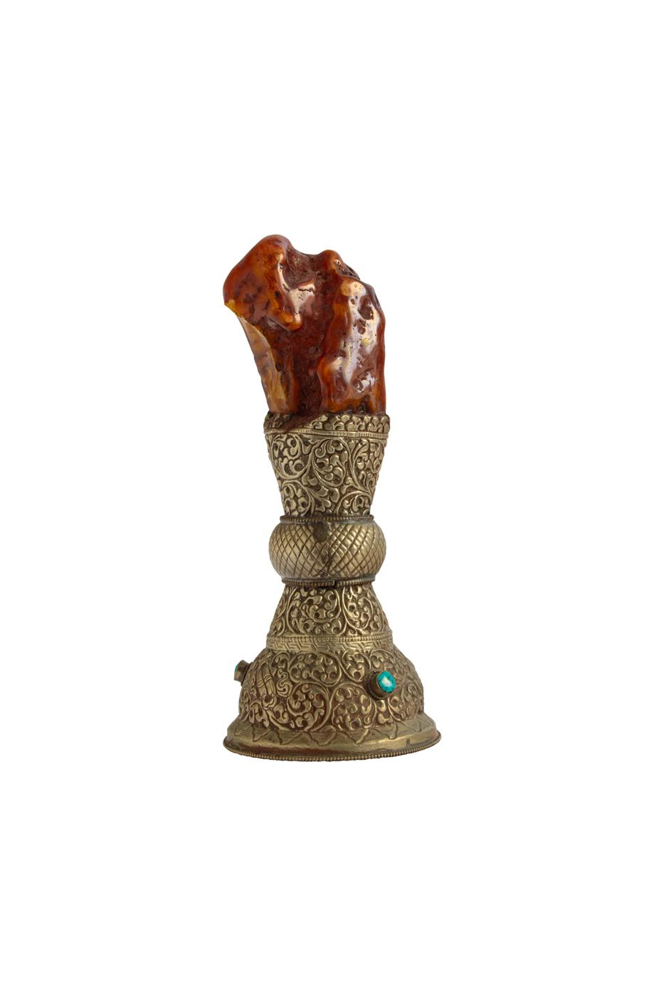 Mini Pedestal Metal y Ámbar 19 Cms