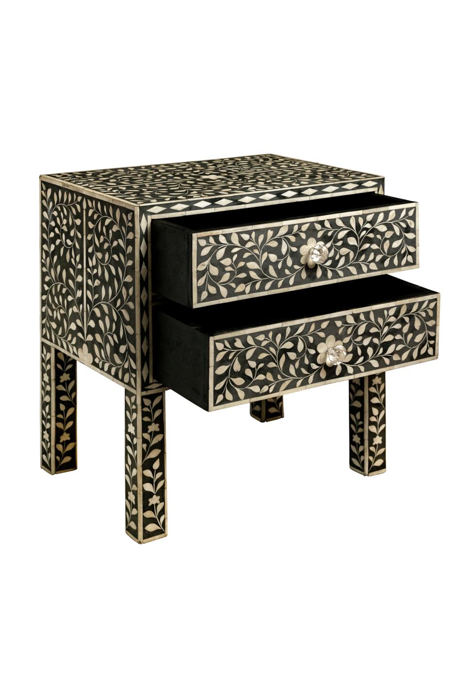 Mesa de Noche con Incrustaciones Diseño Arabesco