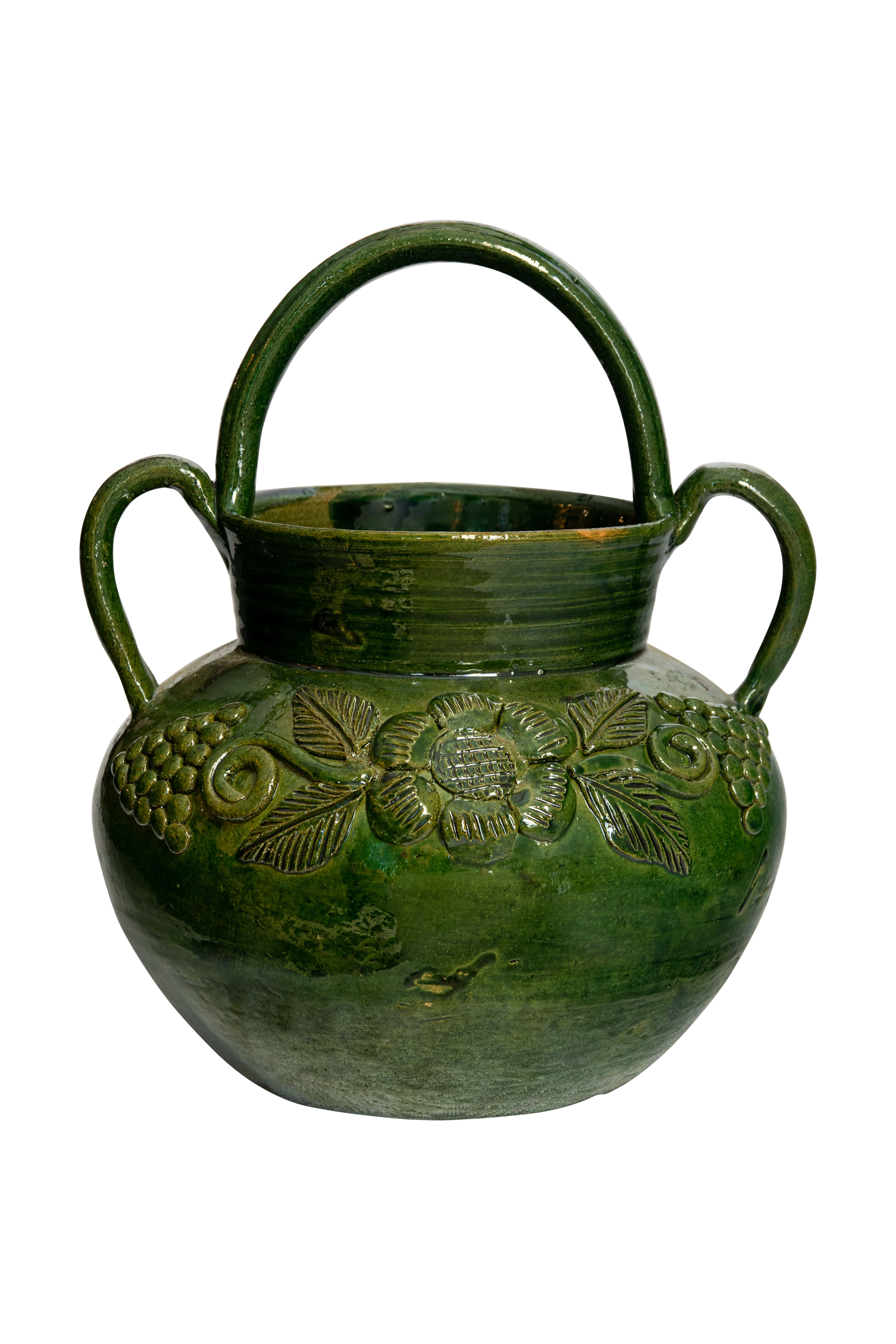 Mexican green ceramic vase with handles