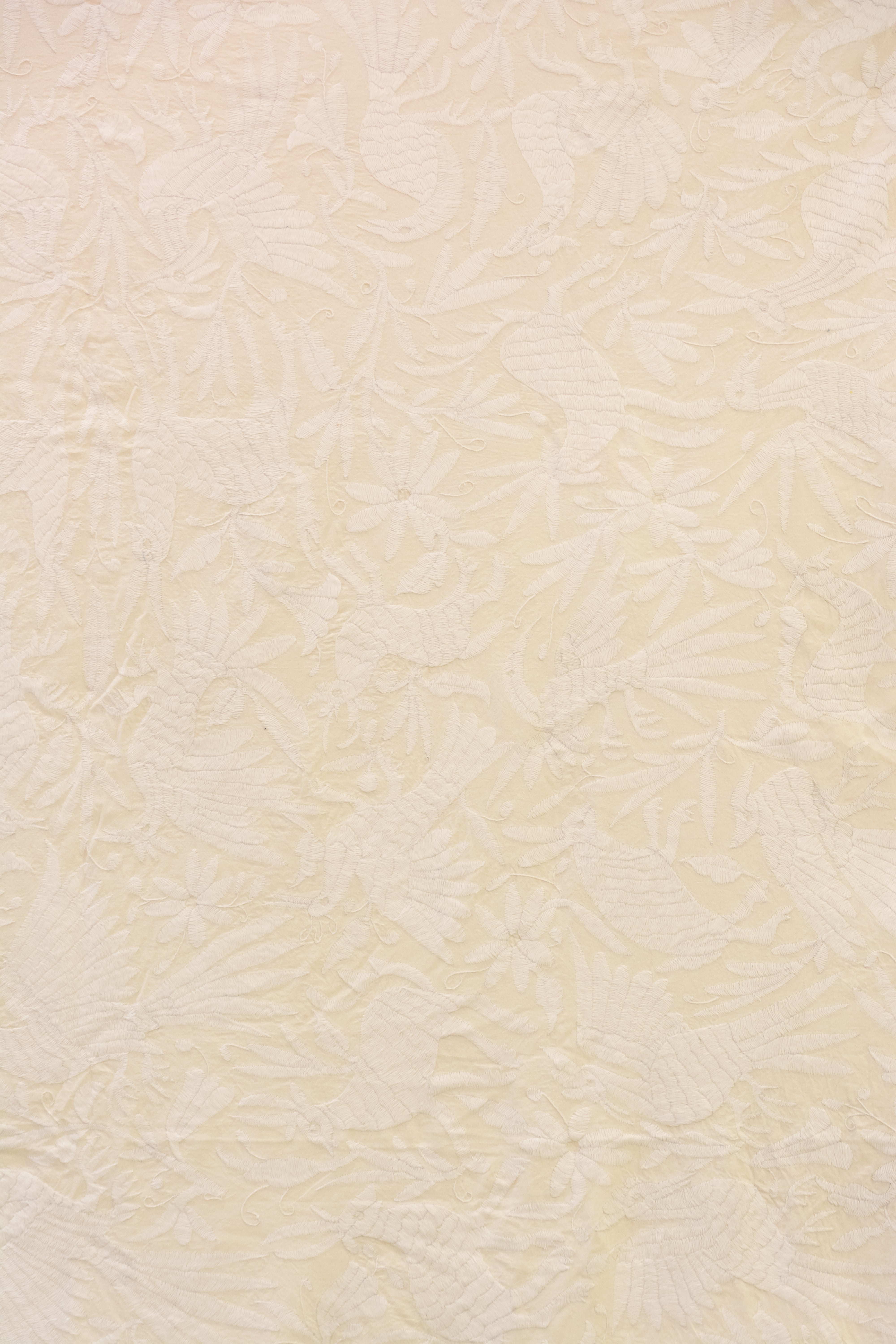 Beige Mexican Otomi decorative fabric