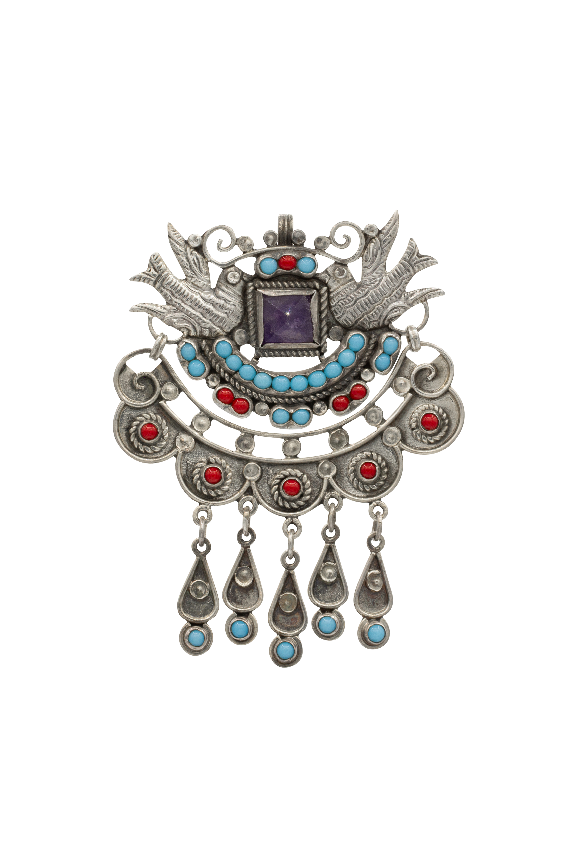 Pigeon silver brooch