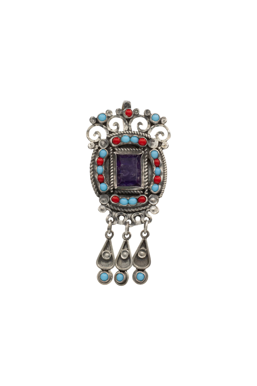 Crown silver brooch