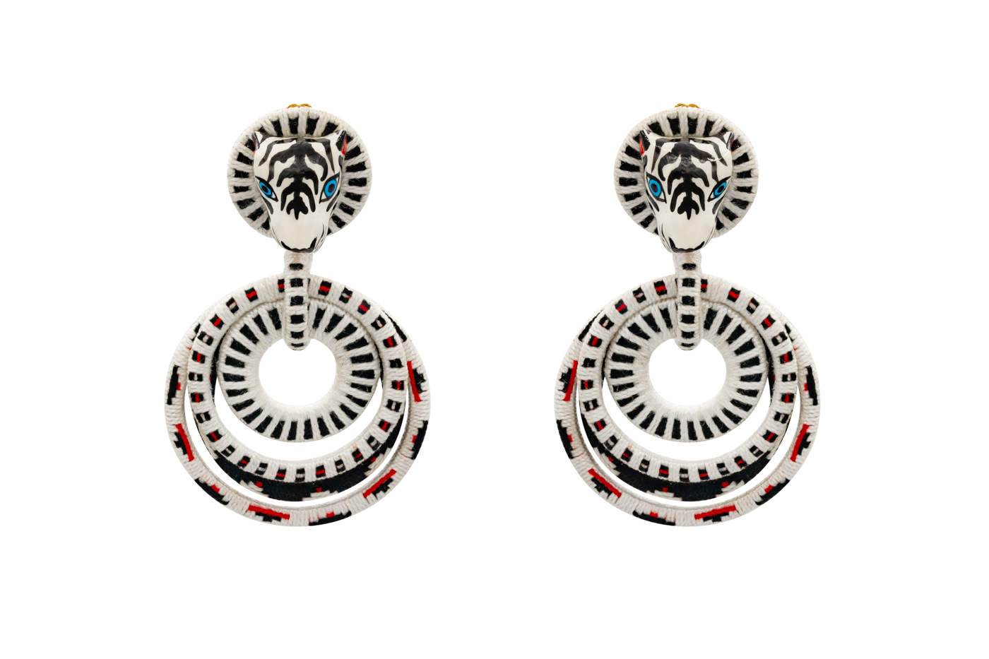 White Tiger Squiggle Earring