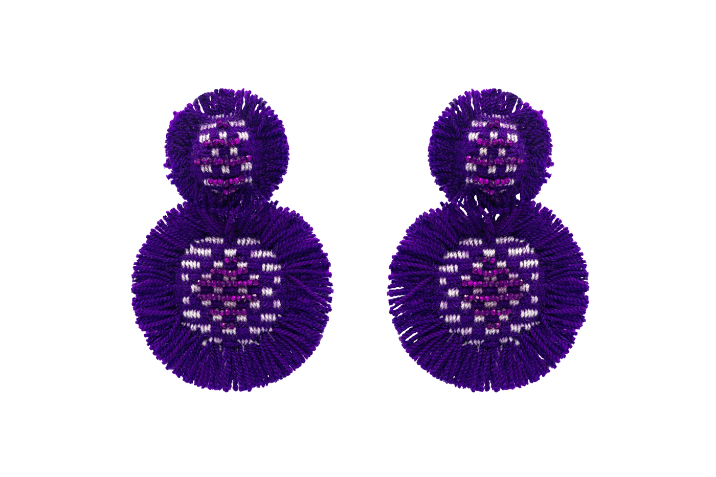 San Jacinto earrings with purple fringes