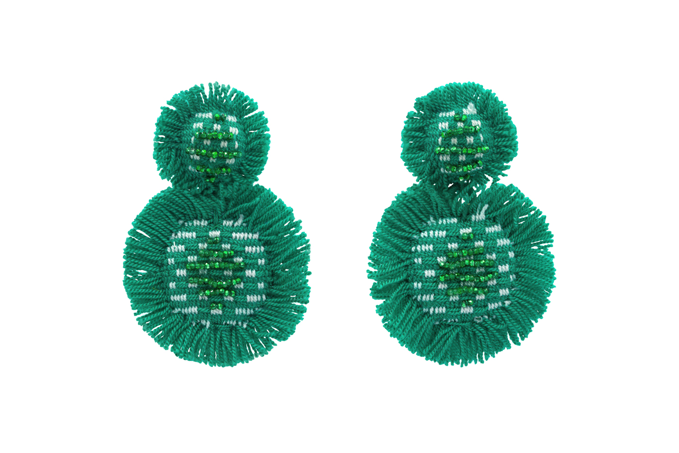 San Jacinto earrings with green fringes