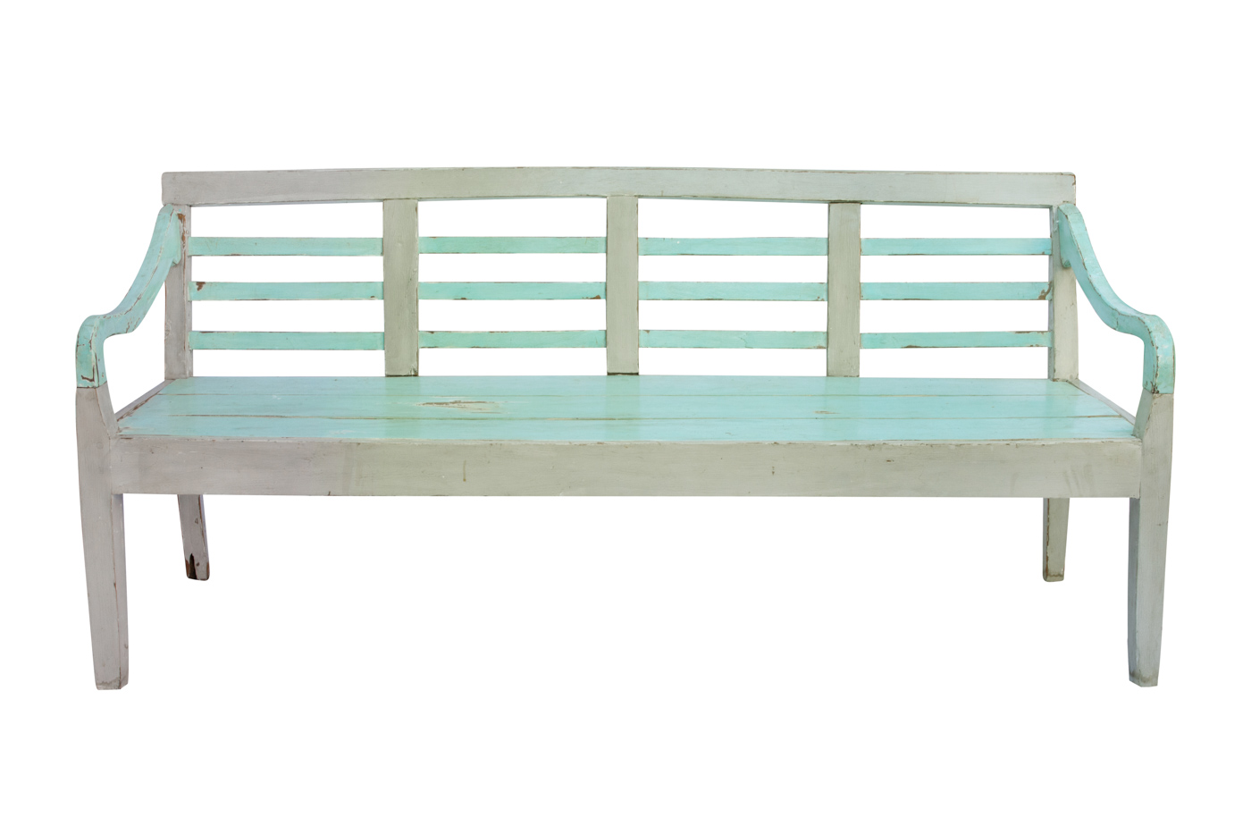 Balinese light green carved bench, 189 Cm