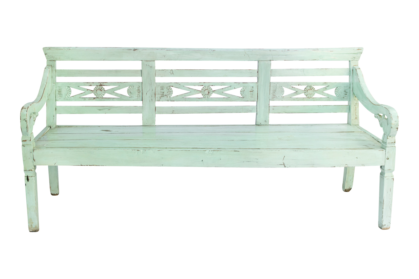 Balinese light green carved bench, 187 Cm