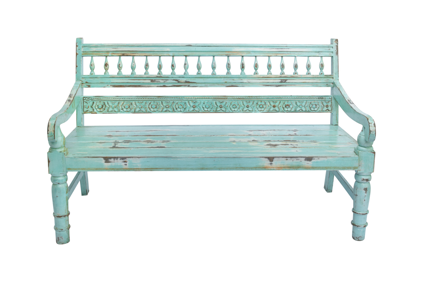 Balinese carved bench mint green, 91 Cm