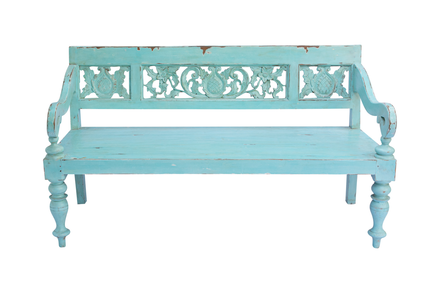 Green Balinese carved bench, 160 Cm