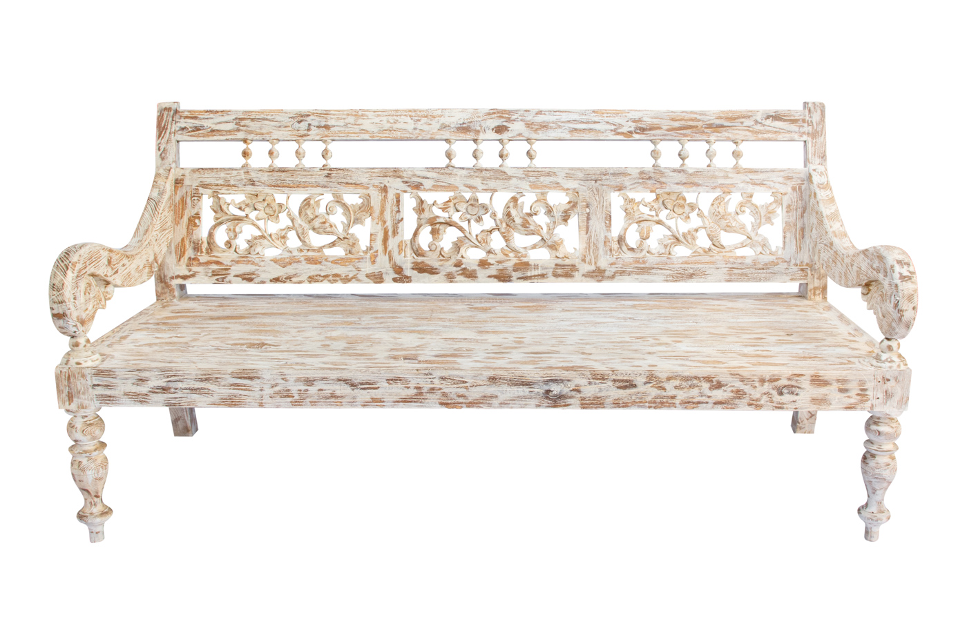 Balinese whitewash carved bench, 102 Cm
