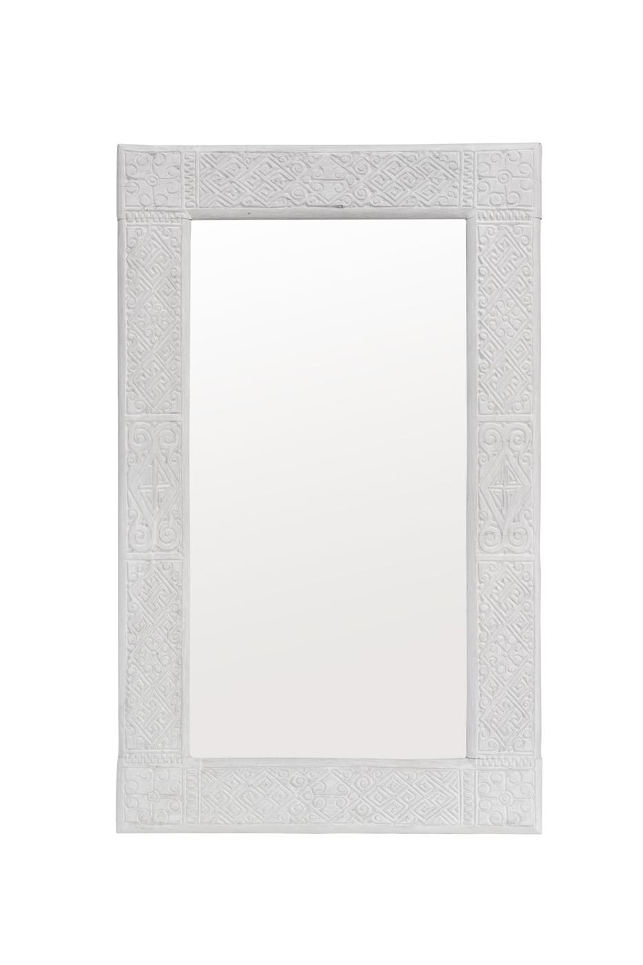 Timor carved mirror white