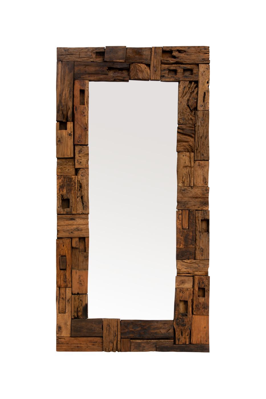 Rectangular mirror recycled teak