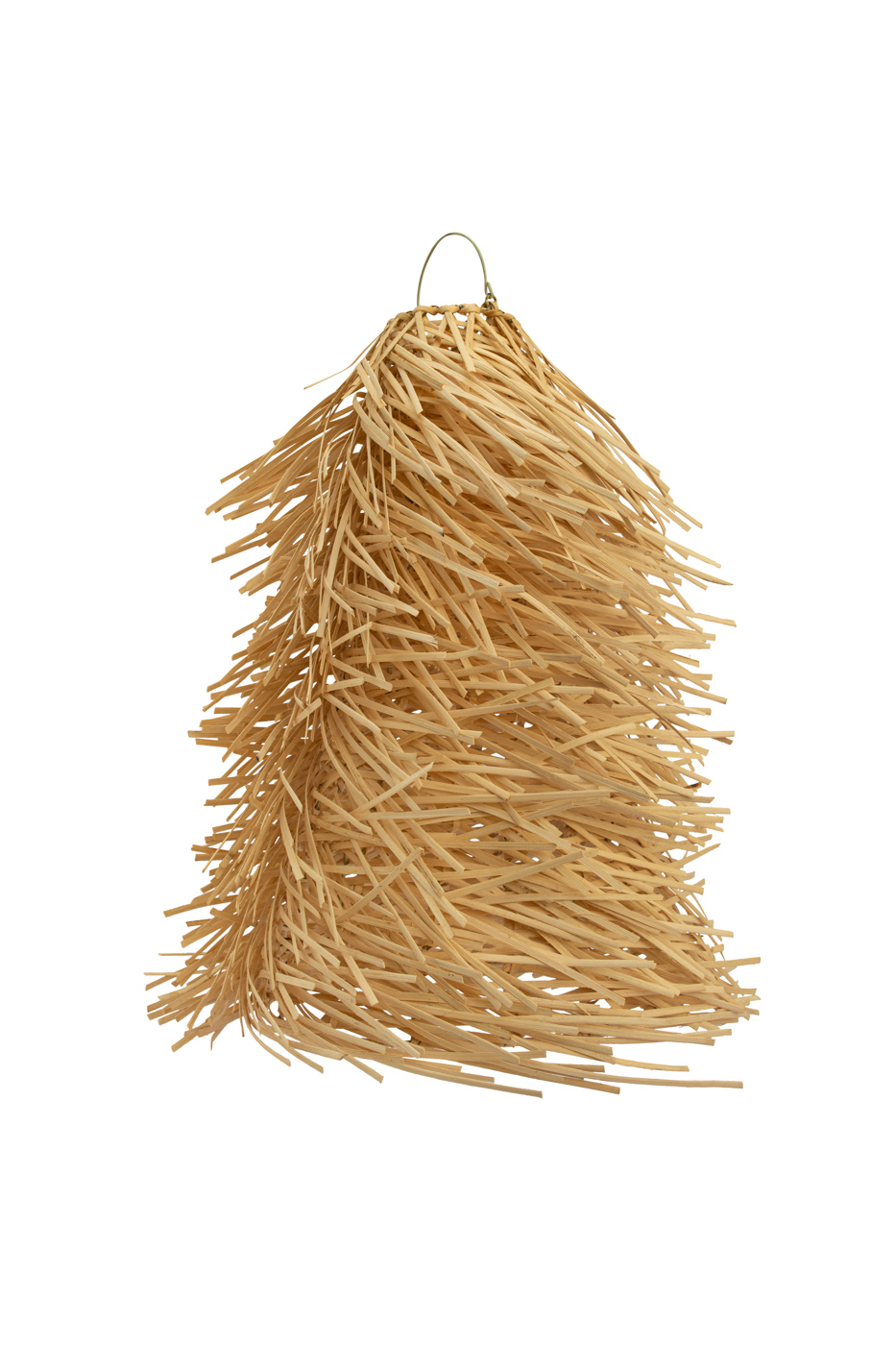 Pendant lamp in rattan with fringes, natural