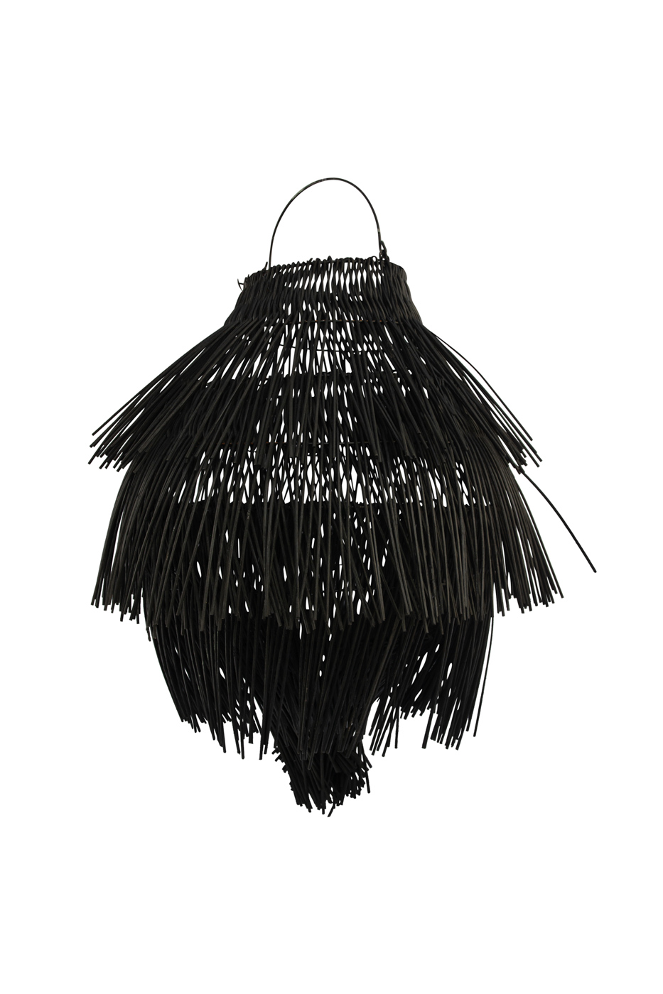 Pendant lamp in rattan with fringes, black