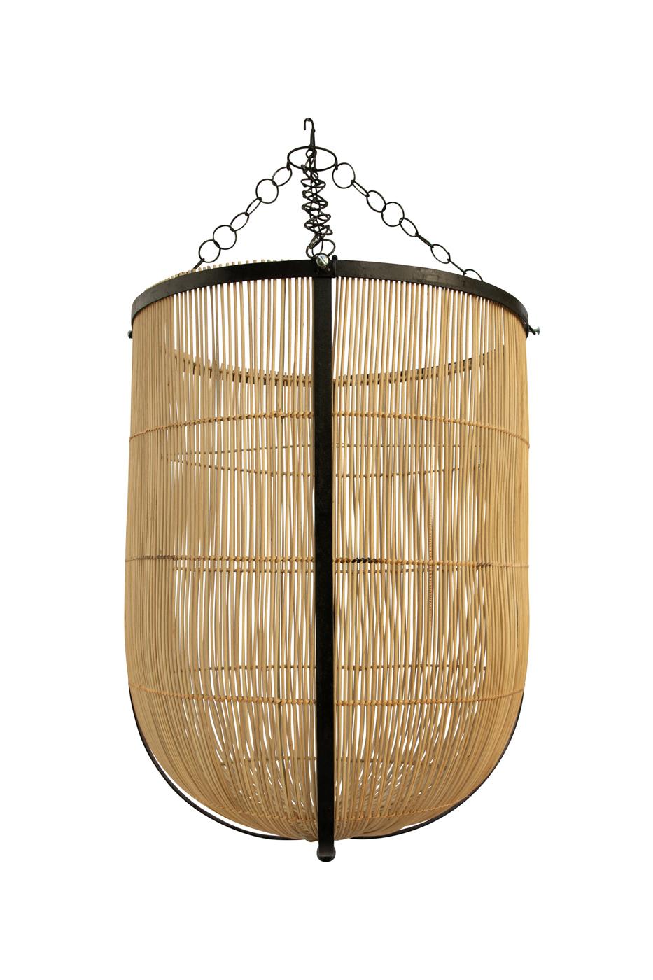 Pendant lamp in rattan and metal, natural