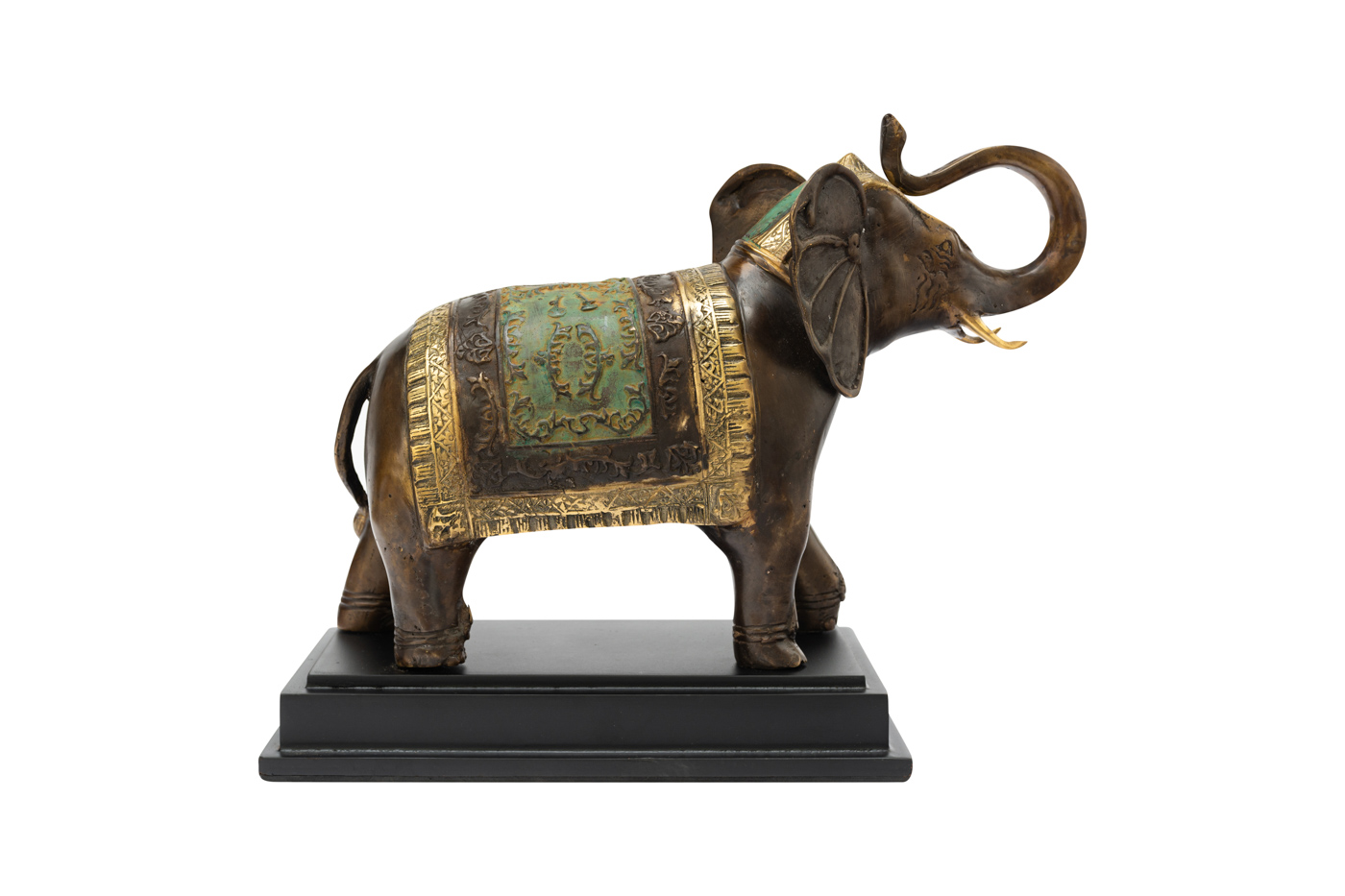 Decorative Elephant in bronze with wooden base