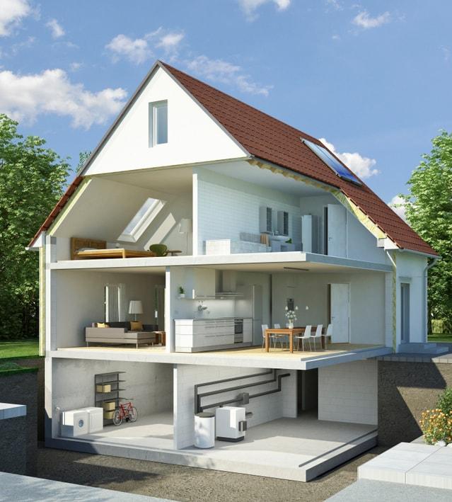 Maison ouverte avec les différentes pièces apparentes