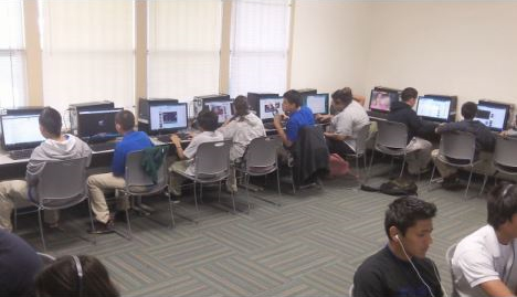 Students using the computer lab after school.