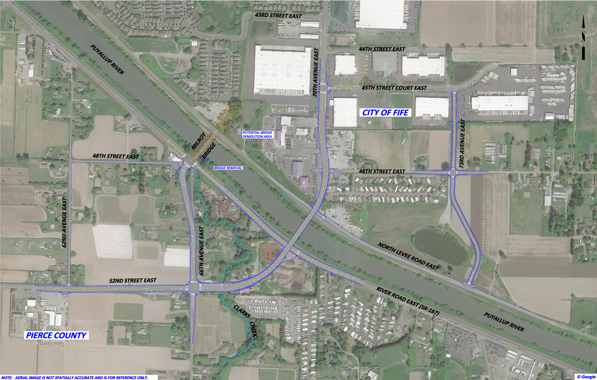 Project map with the signalized intersection at River Road and 66th Avenue East