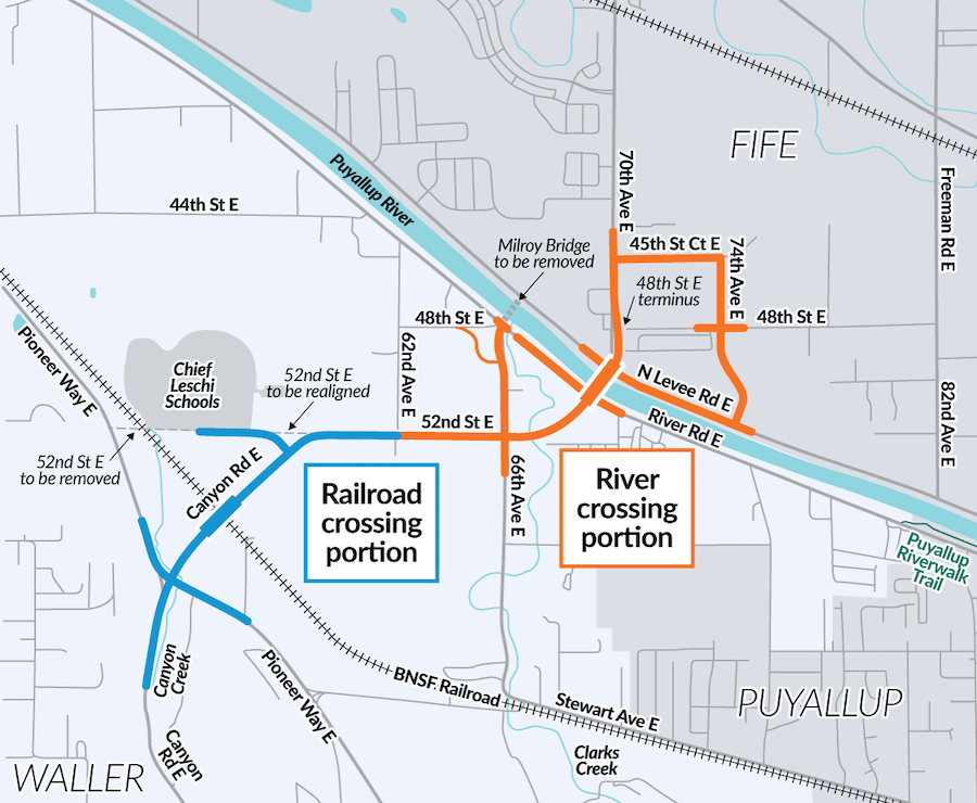 Map depicting the location of the railroad and river crossing portions of this project.