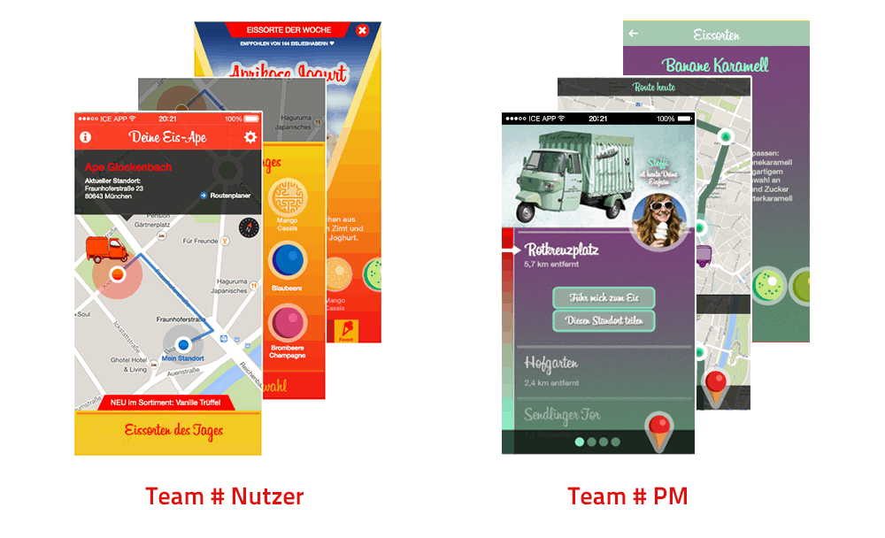 Eis App - Designvergleich