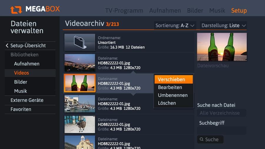 Funktionsüberladener Verzeichnisbrowser auf dem TV-Screen