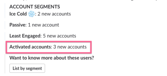 tracking activated account in slack