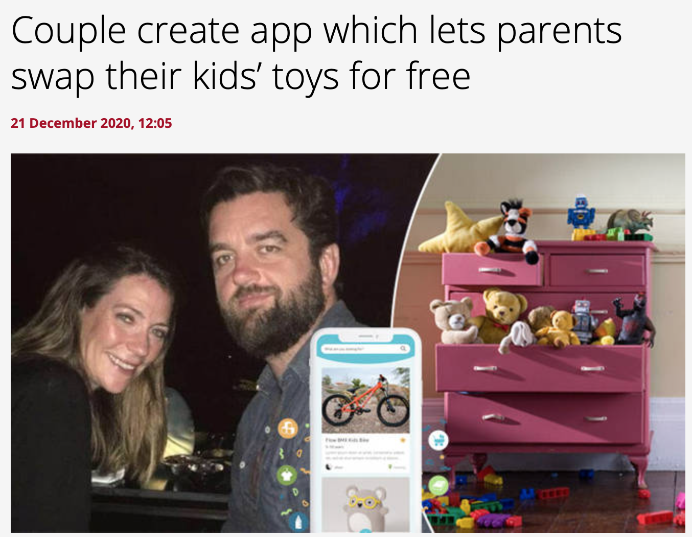Heart article features YoungPlanet as a toy swapping platform to promote sustainable decluttering.