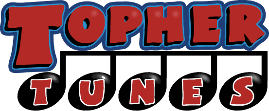 The topher tune logo with music notes