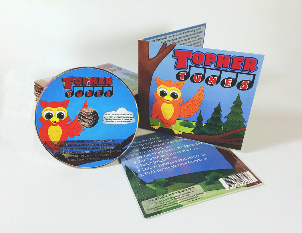 The physical CD is shown with the Happy Topher the Owl on the cover waving to all!