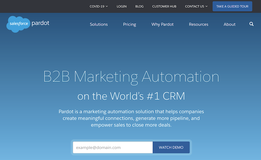Pardot automation software landing page review