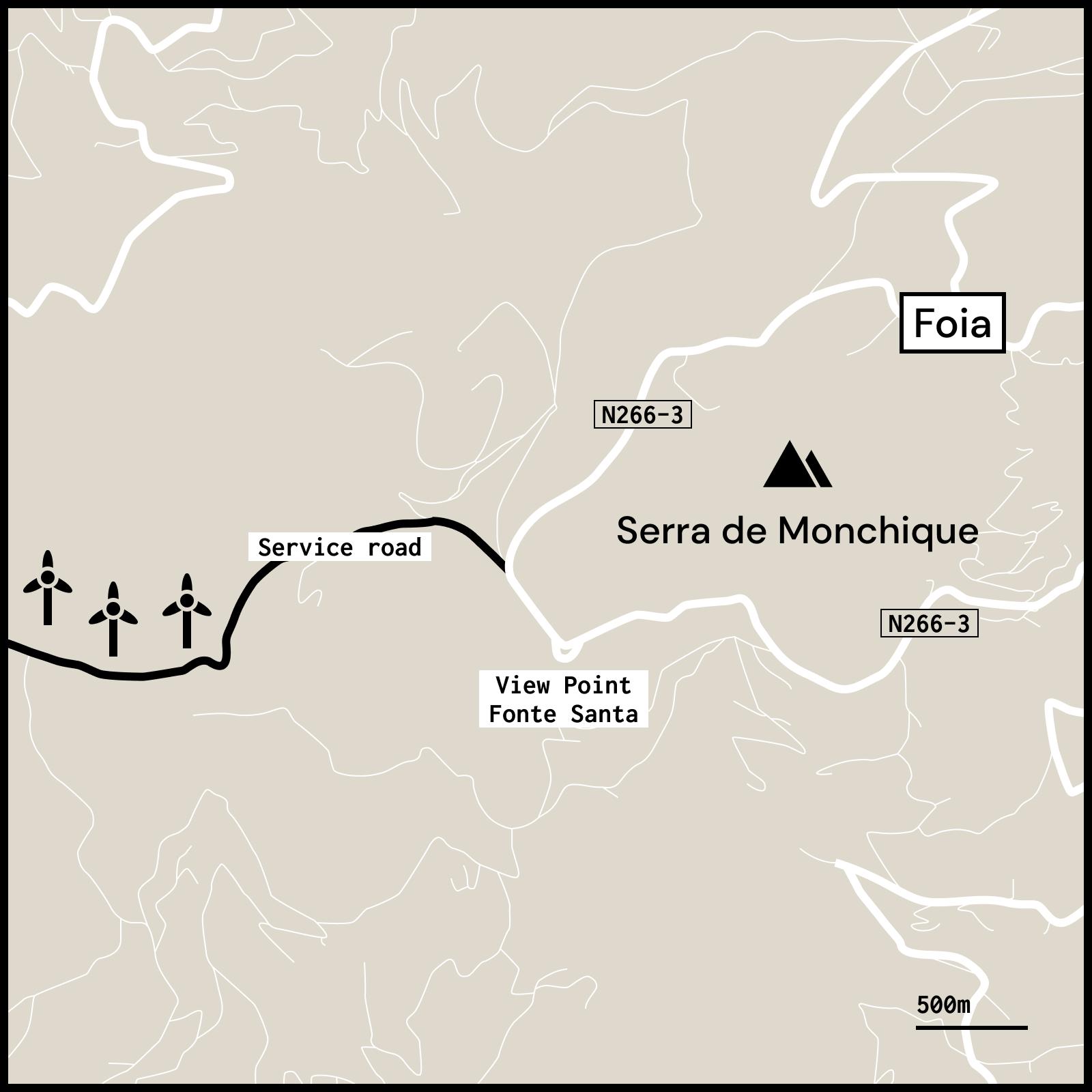 Map of Foia Monchique Algarve viewpoint Fonte Santa and service road
