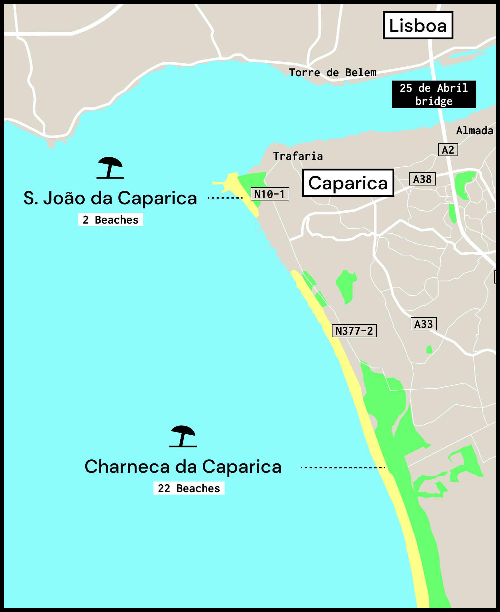Map of the Costa da Caparica beaches