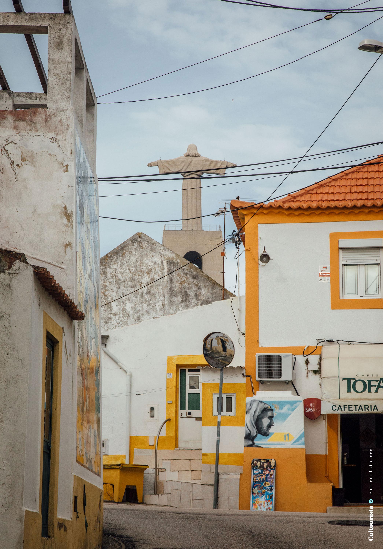 Cristo Rei statue seen from Almada Lisbon Portugal