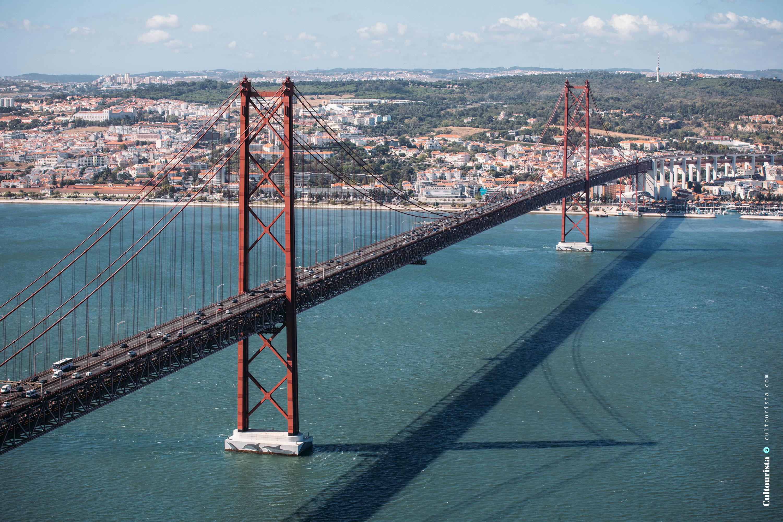 Bridge 25 de Abril seen from Cristo Rei in Almada Lisbon Portugal