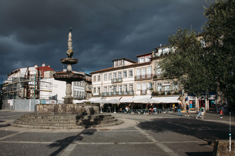 Main square at the village Ponte de Lima in Portugal