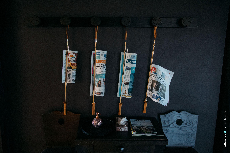 Newspapers at the hotel Casa de Sao Lourenço in Serra da Estrela