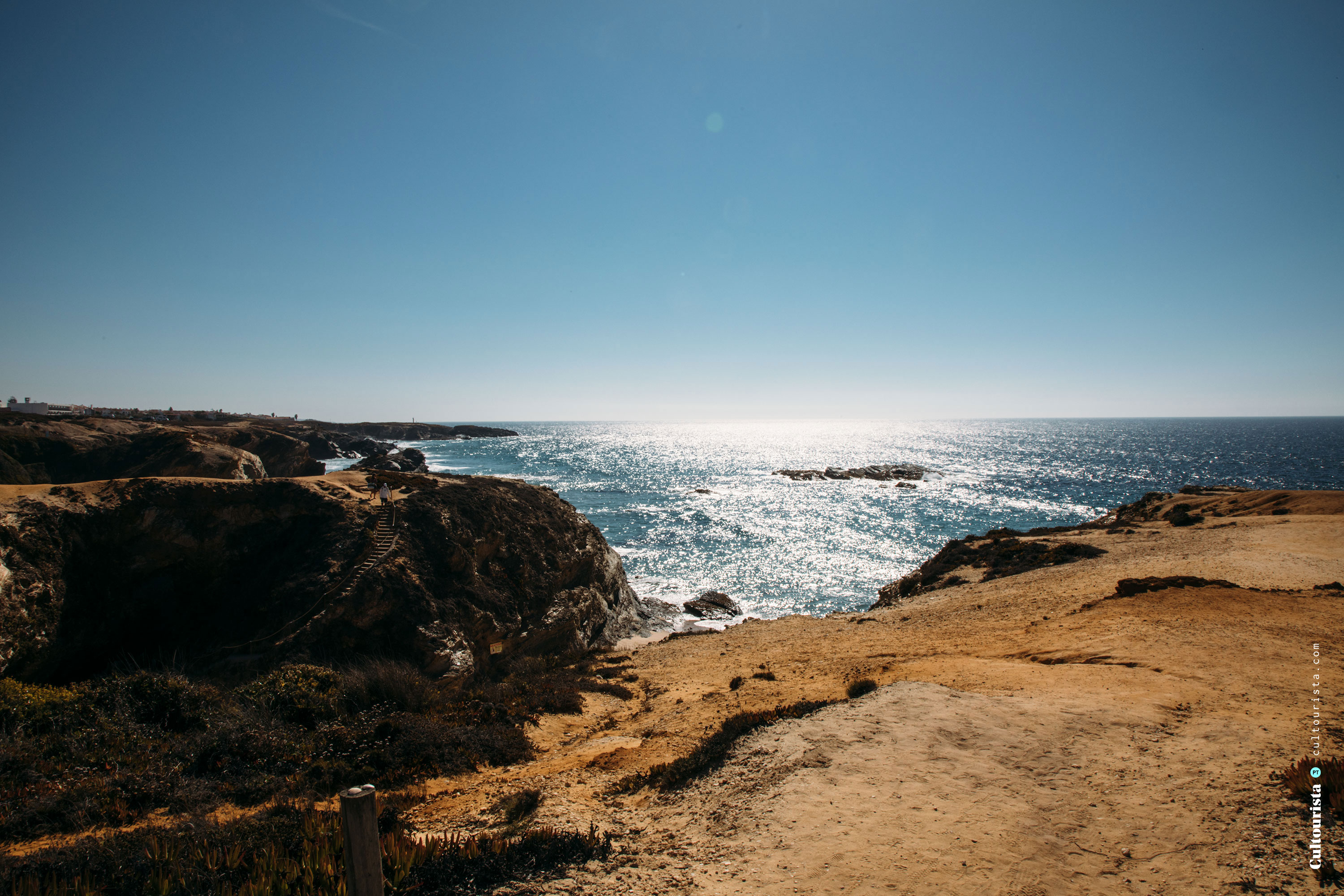 Rocks and beach by the road M1109 in Alentejo Portugal