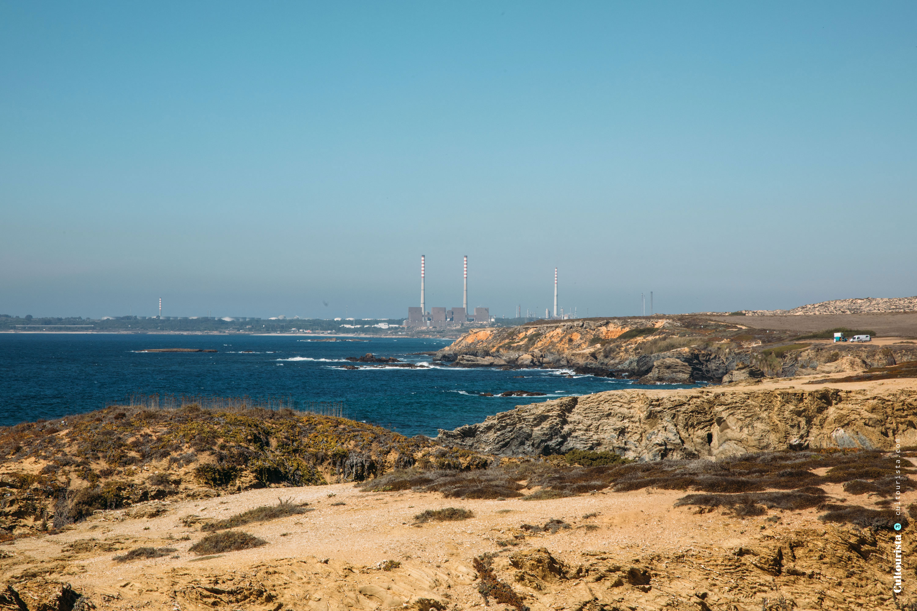 View of Sines from the road M1109 in Alentejo Portugal